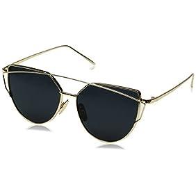 FEISEDY Cat Eye Mirrored Flat Lenses Metal Frame Women Sunglasses UV400 ...