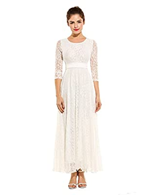 HOTOUCH Women's Floral Lace 3/4 Sleeves Long Wedding Party Maxi Dress