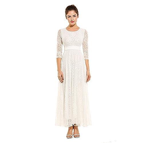 Lace White Wedding Dress: Amazon.com