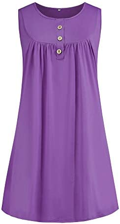 Morton PegfwaS Sommer Neue Einfarbige Damen Knopf Faltenweste LäSsig äRmelloses Kleid