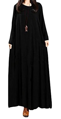 Crewneck Black Loose Pockets Fit Long Sleeve Long Swing Cromoncent Womens With Dress qAwS5B