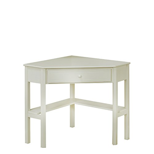 Target Marketing Systems Wood Corner Desk with One Drawer and One Storage Shelf, Antique White (Antique White Corner Table)