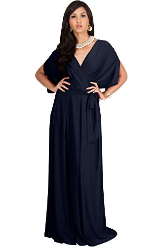 Cocktail Wedding Dress Gown - KOH KOH Petite Womens Long Semi-Formal Short Sleeve V-Neck Full Floor Length V-Neck Flowy Cocktail Wedding Guest Party Bridesmaid Maxi Dress Dresses Gown Gowns, Dark Navy Blue XS 2-4