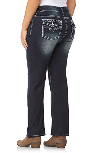 Back Embellished Pocket - WallFlower Women's Juniors Plus Size Luscious Curvy Bling Bootcut Jeans in Betsy, 14 Plus
