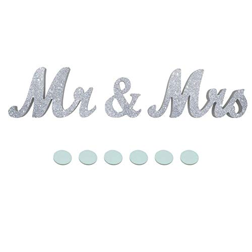 JZHY Mr & Mrs Sign Wedding Sweetheart Table Decorations, Decorative Letters for Photo Frame Home Decoration and Wall Décor (Silver) (Mrs Silver Mr Banner And)