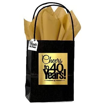 Black Gold 40th Birthday Anniversary Cheers Themed Small Party Favor Gift Bags With Tags 12pack