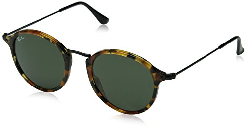 Ray-Ban Mens 0RB2447 Square Sunglasses Spotted Black Havana & Green 49 mm