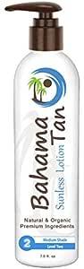 Level 2 Medium Self Tanner Organic & Natural, Body & Face, Bahama Tan Self Tanning Lotion, No Orange Streak-Free Sunless Tanner, 7.5 oz with Pump