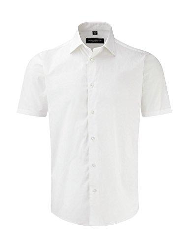 pflegeleichtes körperbetontes Kurzarm Stretch-Hemd , Farbe:White;Größe:S