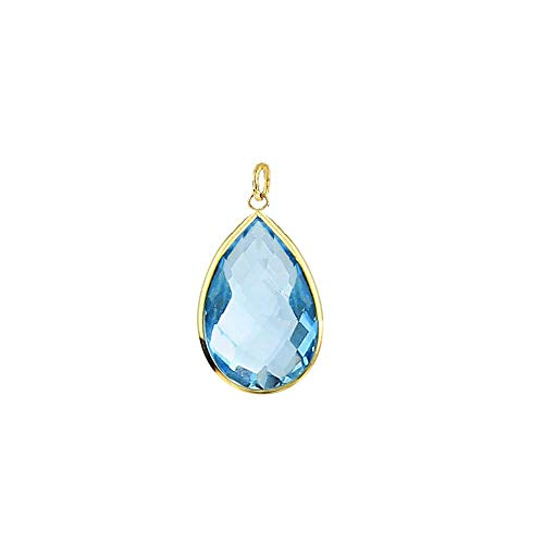 - 14K Yellow Gold Handmade Gemstone Pendant With Pear Shape Blue Topaz