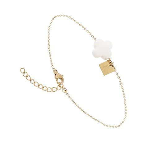 Zag Bijoux Bracelet Tr/èfle facett/é Blanc dor/é