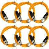 SEISMIC AUDIO - SAXLX-6 - 6 Pack of 6' Orange XLR Male to XLR Female Patch Cables - Balanced - 6 Foot Patch Cords