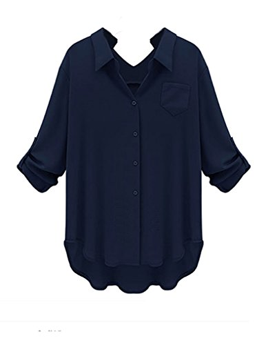 JOLLYCHIC Women's Plus Size Loose Solid Long Sleeve Top Shirt Blouse Size 10 US Navy