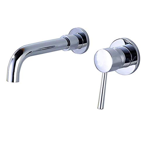WZF 2-Hole Wall-Mounted hrome Washbasin taps Single-Lever washbasin Mixer 360-degree Swivel 192mm Bathroom tap ()