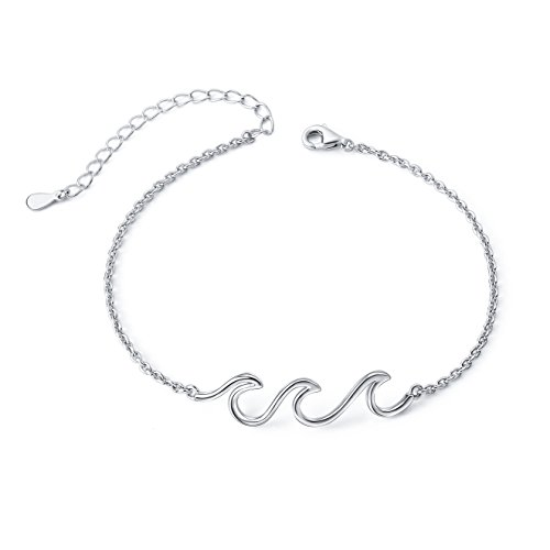 - S925 Sterling Silver Wave Ocean Beach Sea Adjustable Anklet Ankle Bracelet for Women Girl