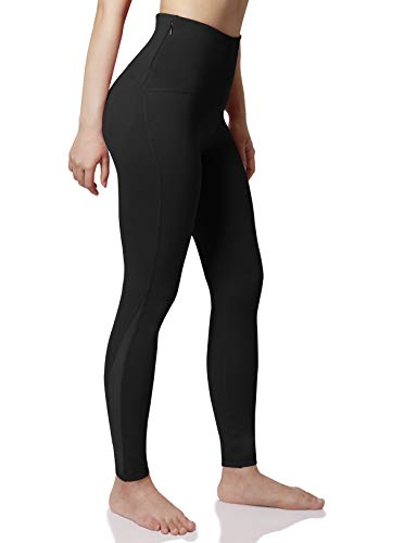 ODODOS Women's High Waisted Tummy Control Mesh Workout Pants, Full-Length Leggings with Back Pockets, Black, Large