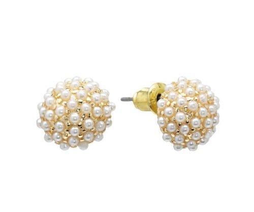 Faux Pearl Button Earrings (White Faux Pearl Beaded Button Stud Earrings Petite Everyday Women's Post Earrings)