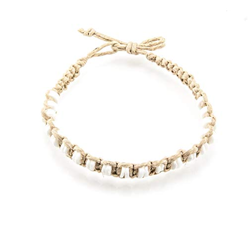 BlueRica Hemp Anklet Bracelet with Puka Shell -