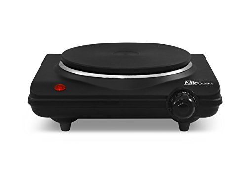 Elite Cuisine ESB-301BF Single Electric Flat Cast Iron Heating Plate Burner, Power Indicator Light, Non-Skid Feet, Easy to Clean, 1000 watts, Black