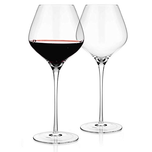Luxbe – Crystal Wine Large Glasses 24-ounce, Set of 2 – Tall Red or White Wine Glasses – Lead-Free – Pinot Noir – Burgundy – Bordeaux – 720ml