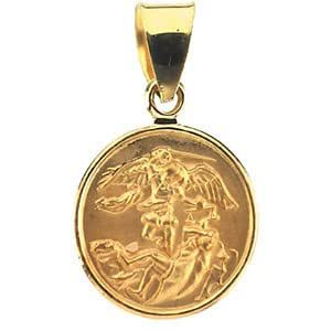 Amazon 18k yellow gold st michael medal 13 mm the mens 18k yellow gold st michael medal 13 mm mozeypictures Image collections