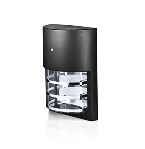 Hyperikon LED Porch Sconce Light 6W, Black Modern Wall Mount with Photocell, 500 Lumen, 4000K (Daylight Glow), IP65 Waterproof Outdoor Wall Light Dusk-to-Dawn