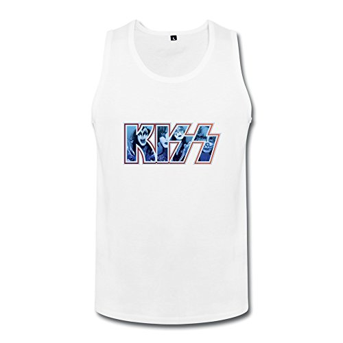 SHUNAN Men's Kiss Band Logo Faces Decal Top Size M White