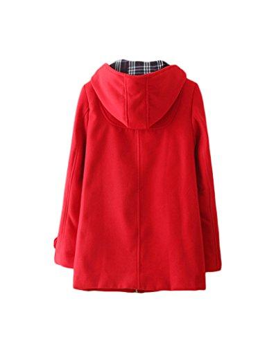 Damen klassische Hörner Abzug mit lange wollene Jacke Kapuze Red XXL