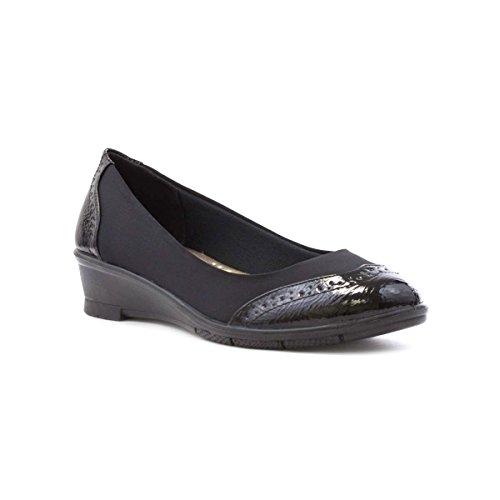 Lunar Womens Black Brogue Wedge Court Shoe Black
