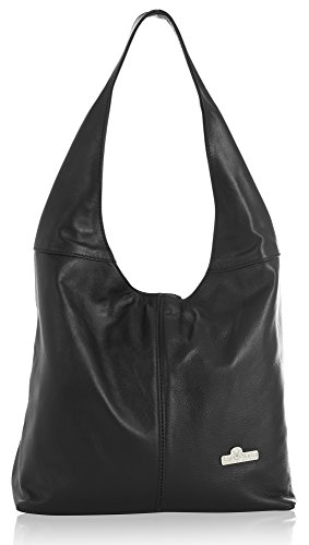 bag Black Soft Shoulder Genuine LIATALIA Shopper Italian Hobo Medium Leather OLIVIA v8WAEqw