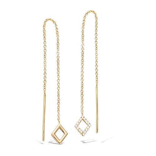 (Agvana Yellow Gold Filled Bar&Diamond Threader Earrings Cubic Zirconia CZ Long Chain Dangle Earrings For Women, Threader Earrings Length: 5