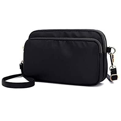 Small Crossbody Purse Mini Nylon Wallets Travel Shoulder Bag Multi Zipper Pockets for Women Girls Lady Black Size: Small
