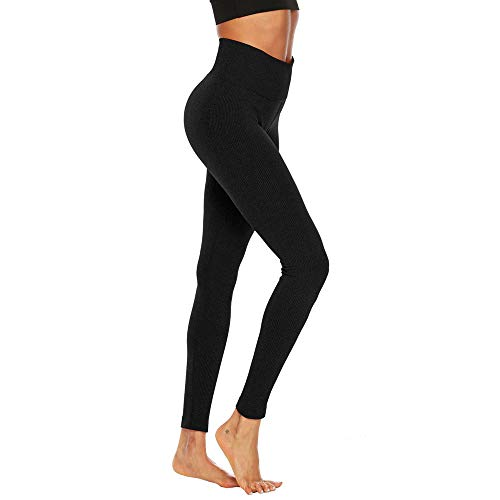 Women's Fitness Sport Capris Solid Line High Waist Workout Ruche Booty Thights Yoga Athletic Leggings (XL, Black) by FDSD Women Pants (Image #7)