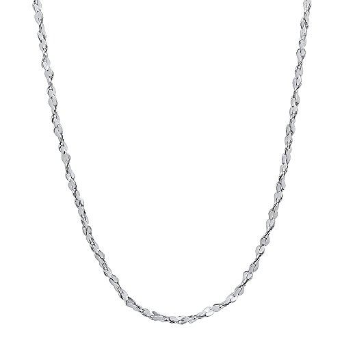 The Bling Factory 2mm Rhodium Plated Twist Nugget Chain Necklace, 36