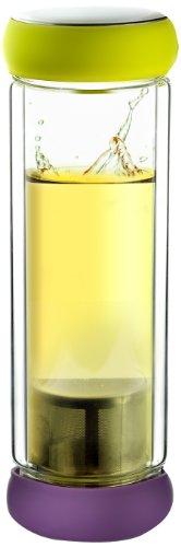 UPC 842591006968, Asobu Twin Lids Double Wall Glass Tea Bottle, Lime/Plum