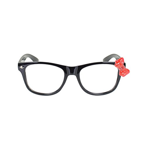 Kids Cute Kitty Cat Bow Clear Lens Glasses Age 3-12, Black / Red - Glasses Bow