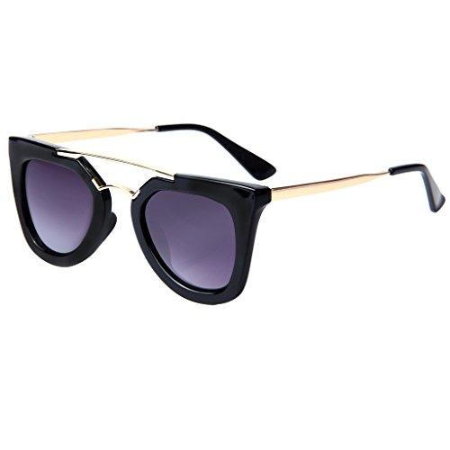 LianSan Fashion Metal Double Bridge Plastic Full Frame Women Sunglasses 2903 (black frame purple lenses)