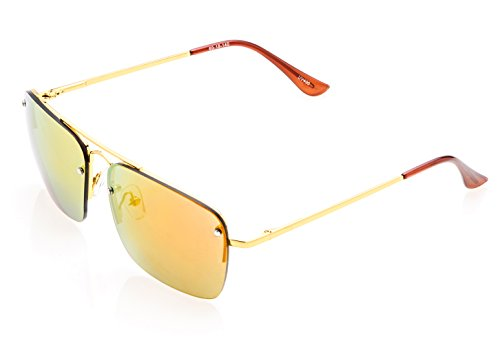 Soleil PLATINUM PS-MS44 Rectangular Cut Lens, Clubmaster Style (Gold, Red Flash - Sunglasses Light