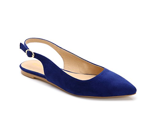ComeShun Blue Womens Shoes Comfort Classic Flats Dress Slingback Pump Suede Size 6 (6 Pump Court)