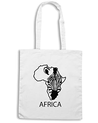 Shopper Borsa ZEBRA AFRICA SILHOUETTE Bianca WES0715 Shirt Speed MAP qfSwaa