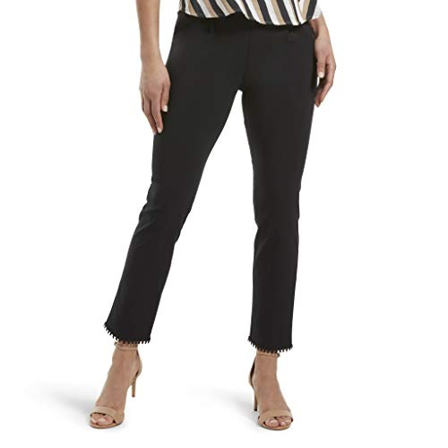 HUE Women's Loafer Skimmer Legging, Crochet Hem/Black, - Leggings Hem