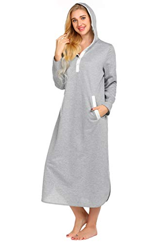 Ekouaer Robe,Long Nightgown Hooded Nightshirt Sleepwear (Grey, Medium)