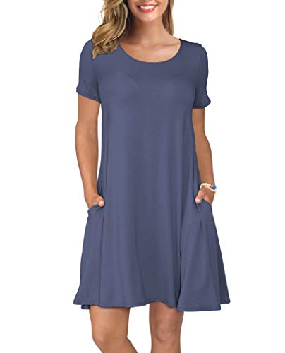 KORSIS Women's Summer Casual T Shirt Dresses Swing Dress PurpleGray L