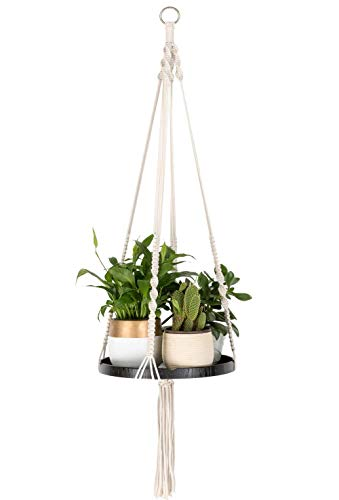 TIMEYARD Macrame Plant Hangers Shelf - Hanging Planter Indoor Decorative Pot Holder with Beautiful Flower Cut Outs - Boho Chic Bohemian Home Decor, in Box