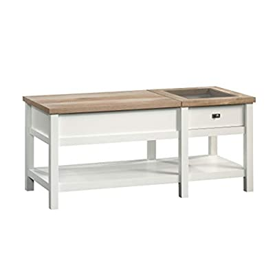 Sauder Cottage Road Lift-top Coffee Table, Soft White finish - Partial top lifts up and forward to create versatile work surface for working from home or snacking Hidden storage beneath top because everyone needs a place to hide their clutter and chaos Easy-glide drawer features glass display top for decor and memorabilia - living-room-furniture, living-room, coffee-tables - 31GkSrIKrPL. SS400  -