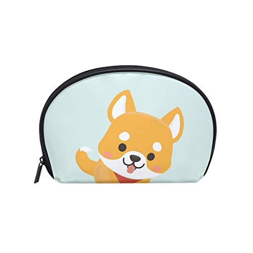 Senya Travel Cosmetic Bag Small Makeup Portable Carry Case Pouch Girls Women Personalized Organizer Tote Bag For Jewelry Toiletries Cute Shiba Inu Dog -