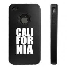 Apple iPhone 4 4S Black D8634 Aluminum & Silicone Case Cover CALI FOR NIA California