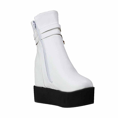 Boots Material Round Zipper High Women's White Heels Solid AgooLar Toe Soft Closed w4vAwI