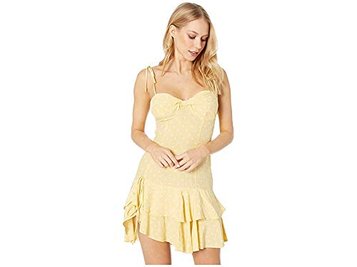 For Love & Lemons Women's Limoncello Tiered Ruffle Dress, Yellow, Large (Best Lemons For Limoncello)