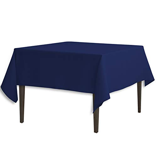 LinenTablecloth 85-Inch Square Polyester Tablecloth Navy Blue
